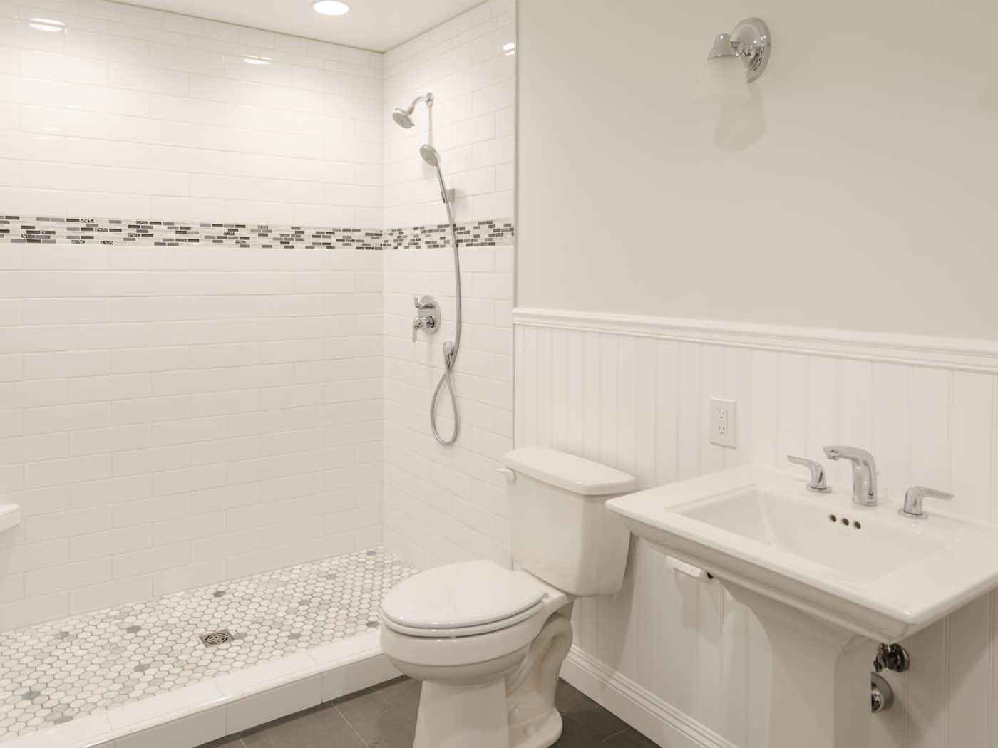Feuillet residence point loma san diego california for White ceramic tile bathroom ideas